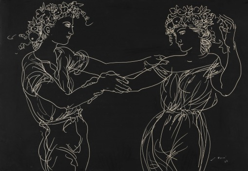 Hans Erni - Couple dancing with fruit in hair, 1952